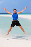 Man Exercising On Beautiful Beach Stock Photo