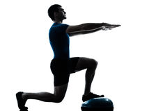 Man exercising bosu workout fitness posture Stock Photos