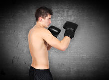 Man exercising boxing Stock Photo
