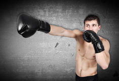 Man exercising boxing in gloves Stock Photos
