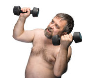 Man exercising with dumbbells Stock Photos
