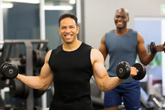 Man exercising dumbbells gym Royalty Free Stock Photo