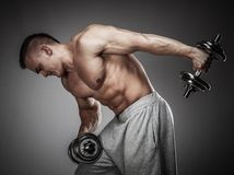 Man exercising with dumbbells Stock Images