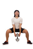 Man exercising with dumbbels Stock Images