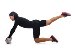 Man exercising with dumbbels Stock Photo
