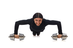 Man exercising with dumbbels Royalty Free Stock Images