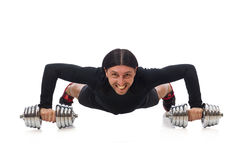 Man exercising with dumbbels isolated on white Stock Photography