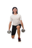 Man exercising with dumbbels isolated on white Stock Images
