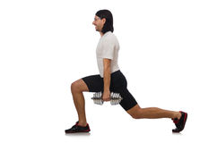 Man exercising with dumbbels on white Stock Photos