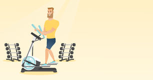 Man exercising on elliptical trainer. Caucasian man exercising on elliptical trainer. Man working out using elliptical trainer in the gym. Man doing exercises vector illustration