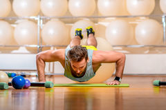 Man exercising with fitball Royalty Free Stock Photo