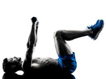 Man exercising fitness crunches weights exercises Royalty Free Stock Photos