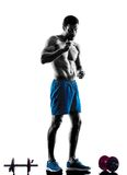 Man exercising fitness eating yoghurt Royalty Free Stock Photo