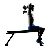 Man exercising fitness weights Bench exercises Royalty Free Stock Photo