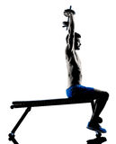 Man exercising fitness weights Bench Press exercises silhouette Royalty Free Stock Photo