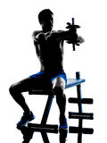 Man exercising fitness weights Bench Press exercises silhouette Stock Photography