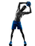 Man exercising fitness weights exercises silhouette Stock Image