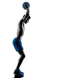 Man exercising fitness weights exercises silhouette Royalty Free Stock Photography