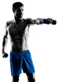 Man exercising fitness weights exercises silhouette Royalty Free Stock Photo
