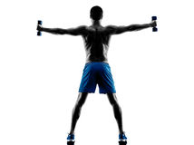 Man exercising fitness weights silhouette Stock Image