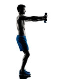 Man exercising fitness weights silhouette Royalty Free Stock Image