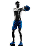 Man exercising fitness weights silhouette Stock Photos