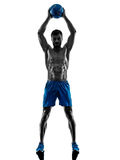 Man exercising fitness weights silhouette Royalty Free Stock Photo