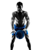 Man exercising fitness weights silhouette Stock Images