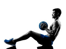 Man exercising fitness weights silhouette Stock Photography