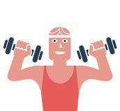 Man exercising in a gym. Gym man exercising  illustration Royalty Free Illustration