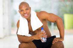 Man after exercising gym Stock Images