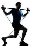 Man exercising gymstick workout fitness posture Royalty Free Stock Photos