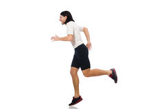 Man exercising isolated on white Stock Images