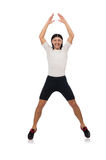 Man exercising isolated on white Royalty Free Stock Photo