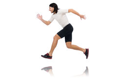 Man exercising isolated on white Stock Photography