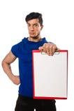 Man exercising isolated on white Stock Photos