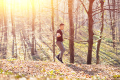 Man exercising with jump-rope outdoors Stock Photos
