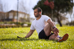 Man exercising in outdoor Stock Images