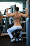 Man exercising on a simulator for dorsi. In the gym Stock Photos