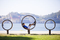 Man exercising with situps Stock Photos