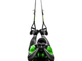Man exercising suspension training trx tired pouting silhouette Royalty Free Stock Images