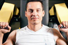 Man exercising and training in gym Stock Images