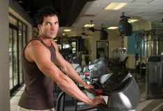 Man Exercising On Treadmill Stock Photo