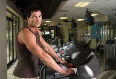 Man Exercising On Treadmill Stock Photo