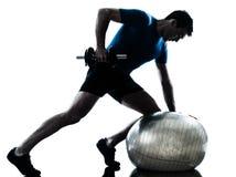 Man exercising weight training stock images