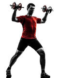 Man exercising weight training silhouette Stock Image