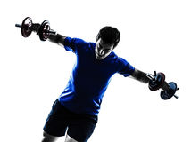 Man exercising weight training silhouette Royalty Free Stock Image