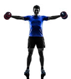 Man exercising weight training silhouette Royalty Free Stock Photos