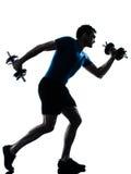 Man exercising weight training workout fitness stock photos