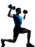 Man exercising weight training workout posture